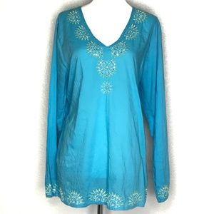 Signature Studio Blue Tunic Blouse Top A120306